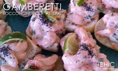 Tartine di gamberetti in salsa rosa al lime